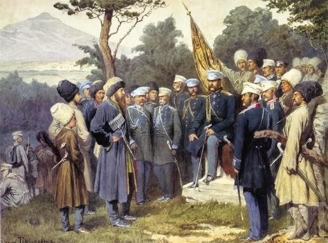 Imam Shamil's surrender in 1859. By A.D. Kvishenko.