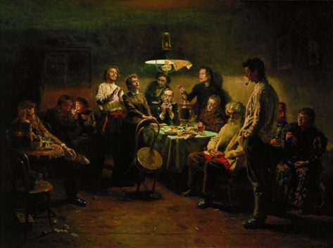 Revolutionaries meet to plot. Painting by Vladimir Makovsky.