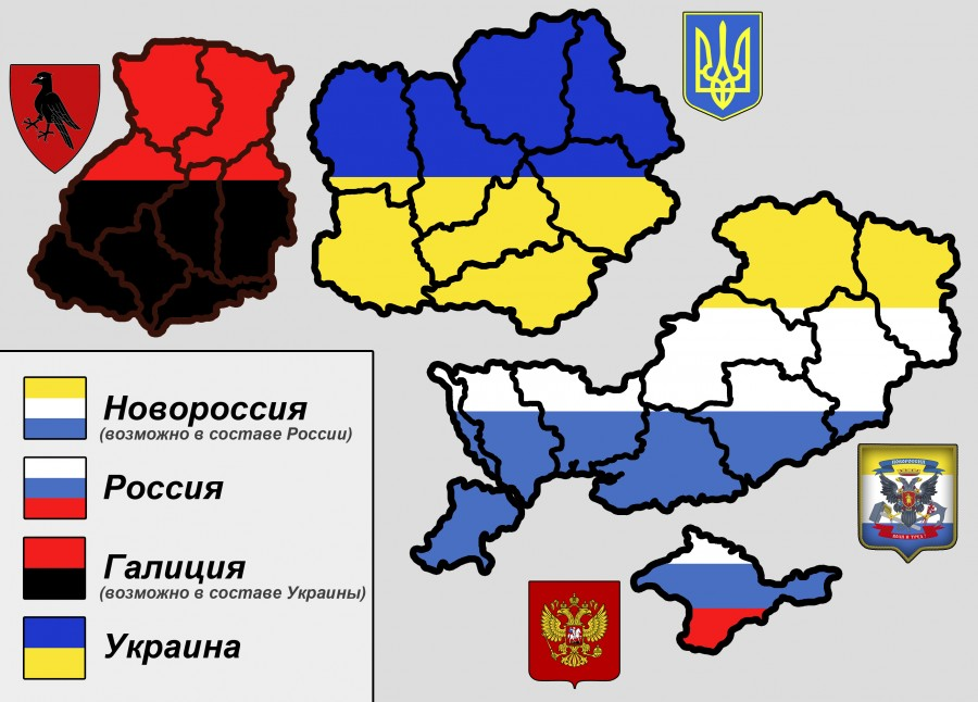 Novorossiya and Crimea (South/East), Malorossia and Galicia (North/West).