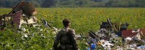 Armed pro-Russian separatist stands guard as OSCE monitors and members of a Malaysian air crash investigation team inspect the crash site of Malaysia Airlines Flight MH17, near the village of Rozsypne, Donetsk region