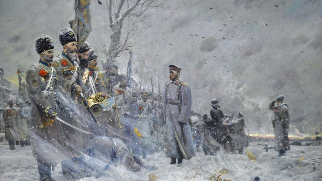 Tsar Nicholas II's farewell to his Cossack bodyguard. By Pavel Ryzhenko.