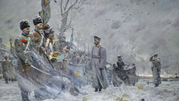 Tsar Nicholas II's farewell to his Cossack bodyguard. By Pavel Ryzhenko.