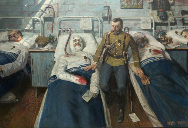 Nicholas II attends to his men in a field hospital. Painting by Pavel Ryzhenko.