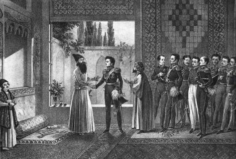 The Treaty of Turkmenchay: Griboyedov is seen fifth from left in white pants and glasses.