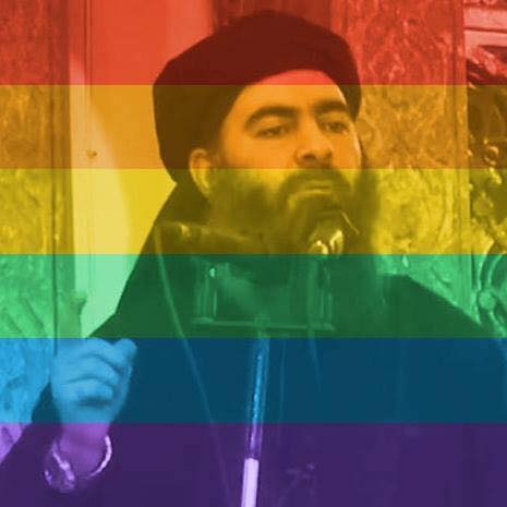 Dialectical synthesis in one social media profile picture: ISIS's Al Baghdadi celebrates #lovewins.