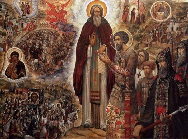 St. Sergius of Radonezh blesses Dmitry Donskoy and his forces before the Battle of Kulikovo field.