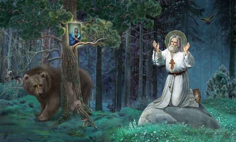 St. Seraphim of Sarov. Art by Sergei Yefoshkin.