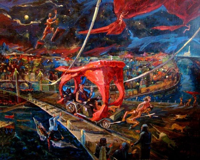 The Devil rides out in Moscow. Painting by Aleksandr Kurushin.
