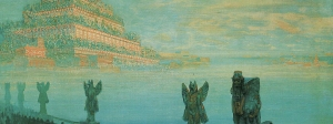 "František Kupka, Babylon, 1906. 27-9/16 x 40-15/16"", 70 x 104 cm, NG Prague. Source: Painting the Universe-Kupka-Pioneer in Abstraction."